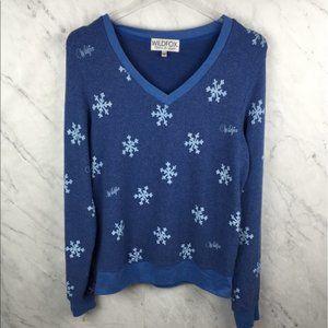 Wildfox Snowflake Blue Sweatshirt - Size M
